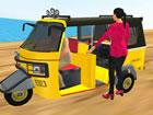 Fahren Sie diese lustige dreirädrige Auto-Rikscha, die in einigen Län