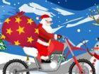 Ride with Santa auf einem Fahrrad über Schnee ...