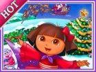 Dora Weihnachten feiern mit Freunden. Jetzt Dora ist sehr glücklich und m&