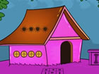 Weißer, orangefarbener Mann, der in einem rosa Haus gefangen ist, und Sie
