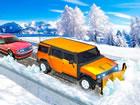 Im Winter Schneepflug Jeep Fahren mehrere Autos sind von einem Schneesturm fest