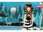 Dieses schöne Mädchen feiert ihr Winterurlaub in einem See-Hütte. Es ist kal
